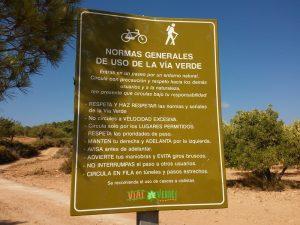 Normas de uso de la Vía Verde.
